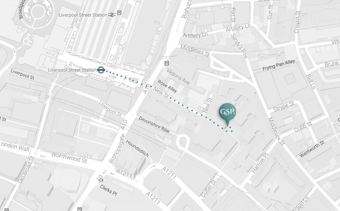 Google map showing the location of The Gary Smith Partnership at 9 Devonshire Square, London UK