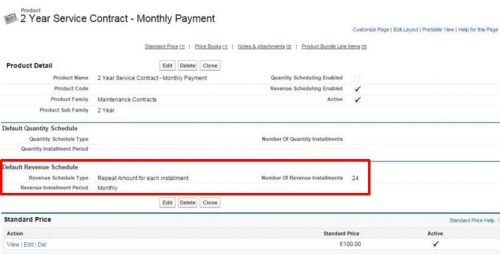 Default revenue schedule on a service contract product in salesforce.