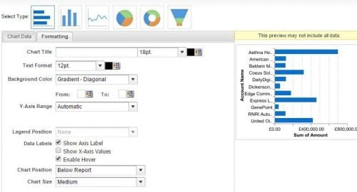 Adjust the formatting of the chart by enabling hover and setting the chart to run below the report.
