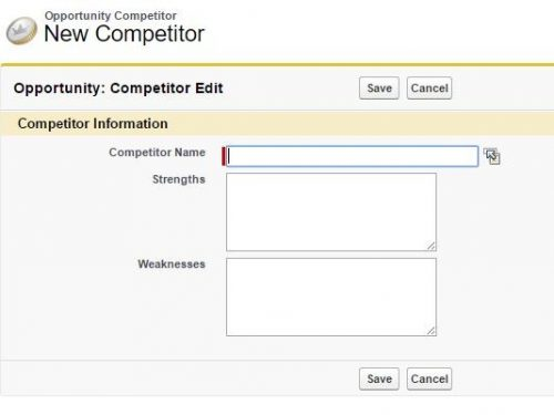 Click new competitor to add a new rival to the competitor.