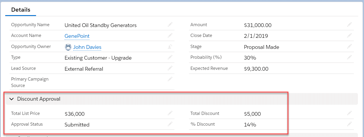 Calculate the discount at the opportunity level and implement your approval process on the opportunity itself.