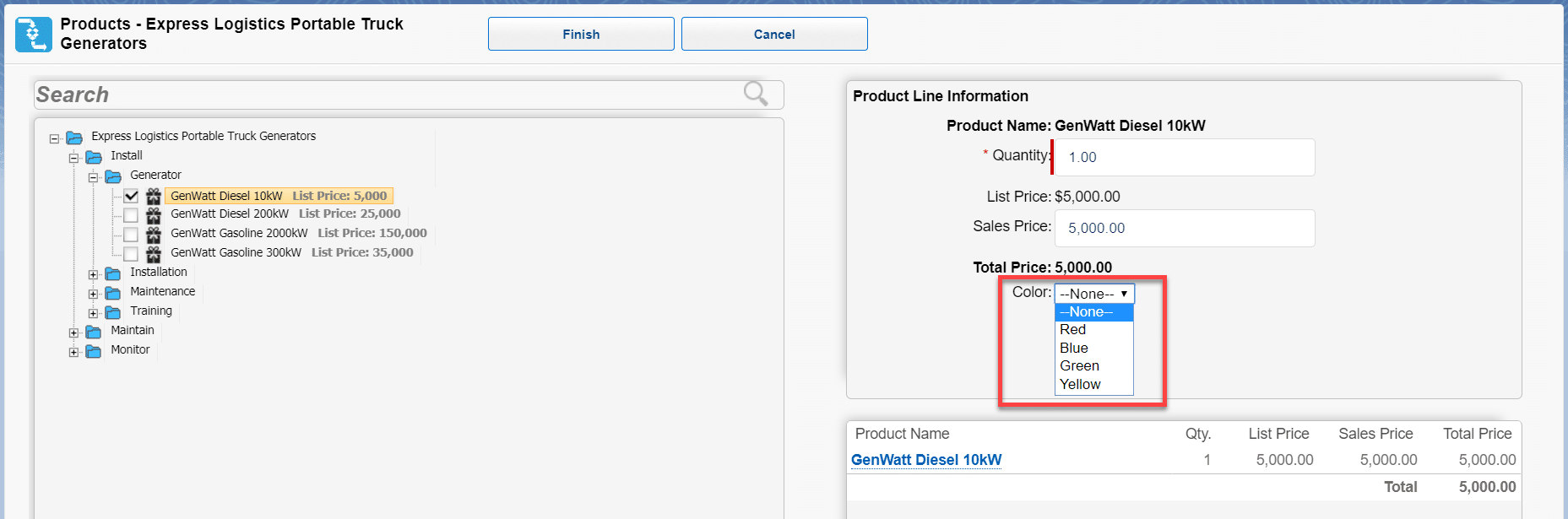 Other fields can also be added for salespeople to enter in the product wizard