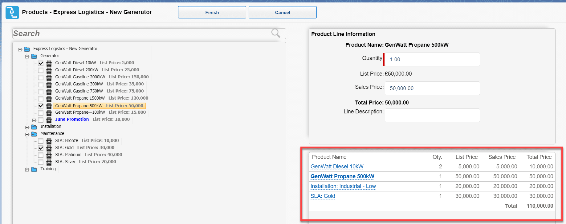 The list of products added to the opportunity builds up in the bottom right corner of the wizard