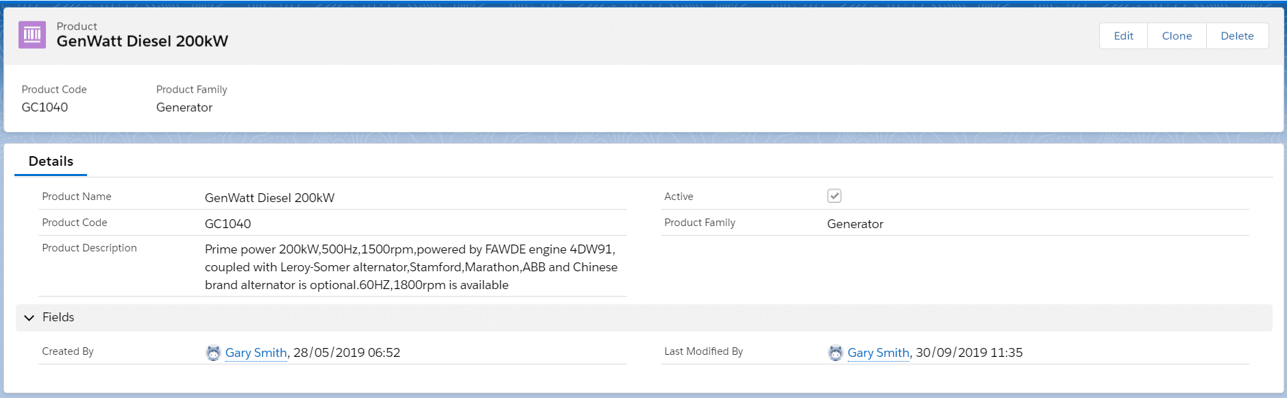 The Code and Description fields are optional fields in Salesforce.
