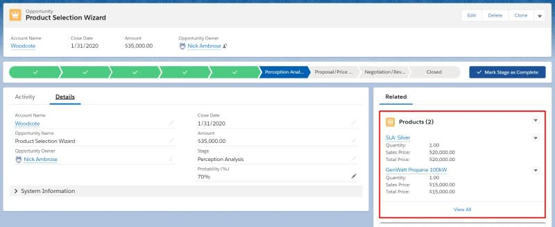 An example of opportunity products added to an opportunity in Salesforce.
