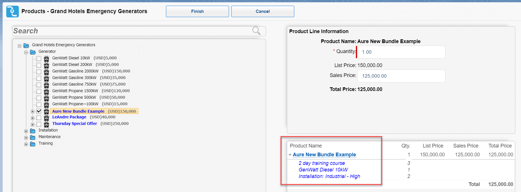 Example of how to add a product bundle to an opportunity in Salesforce.