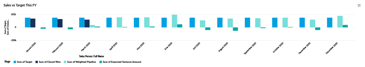 Dashboard chart showing the month-on-month sales versus target performance for the whole year.