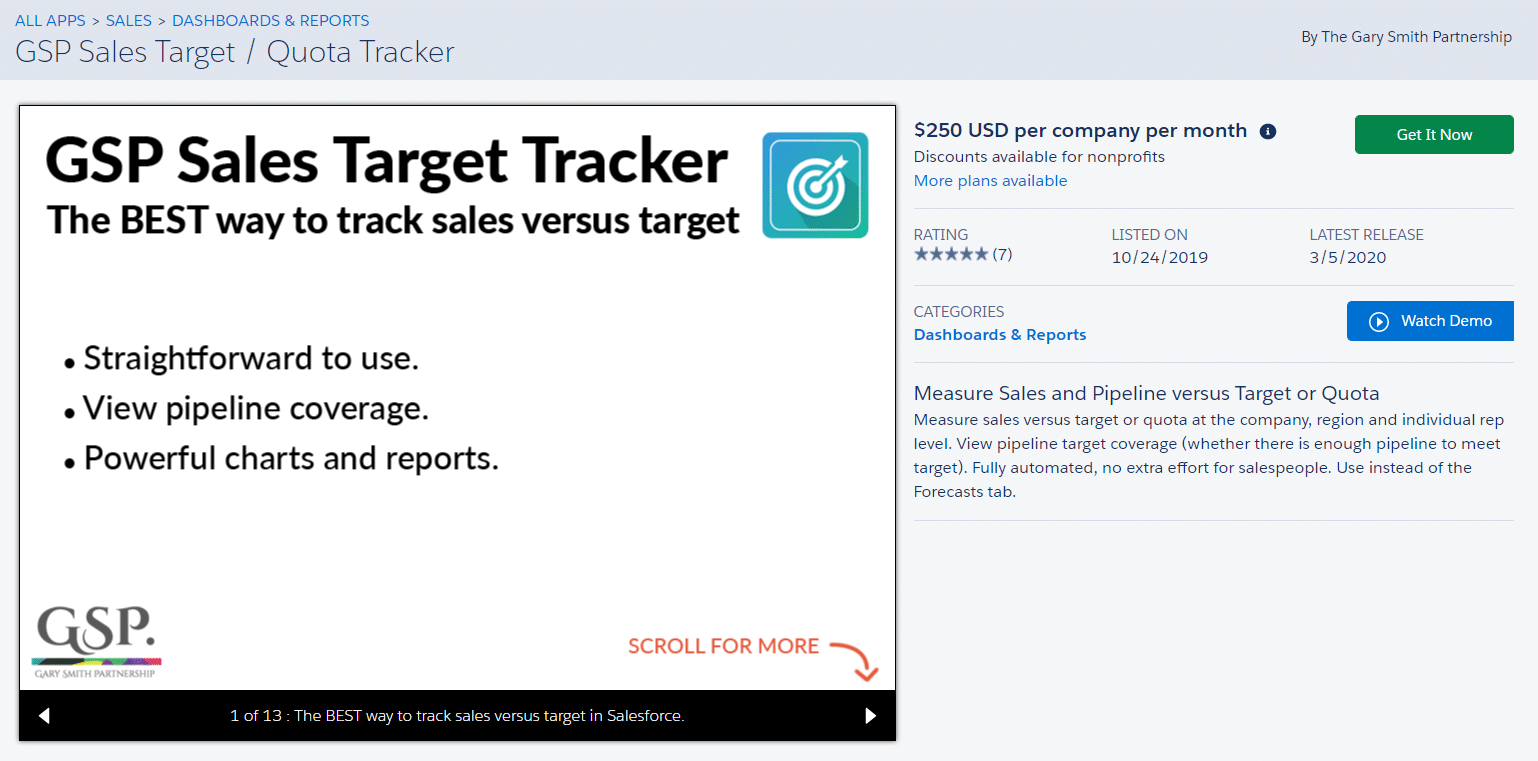 The Target Tracker captures the opportunity conversion rate for each salesperson.