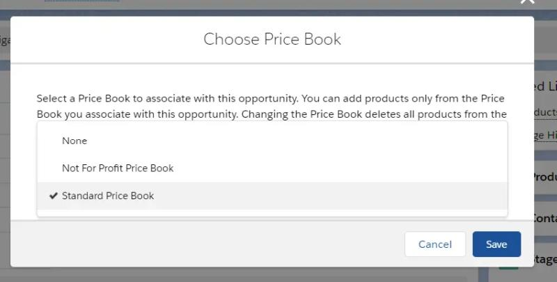 If you have more than one Price Book, you'll be invited to choose which one to apply to this opportunity