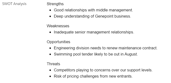 The SWOT analysis are strengths, weaknesses, opportunities, and threats to successfully achieving your objectives.