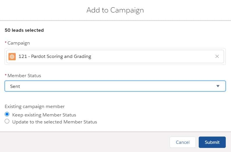 Adjust the Campaign Member status before adding records to a Salesforce campaign in Lightning