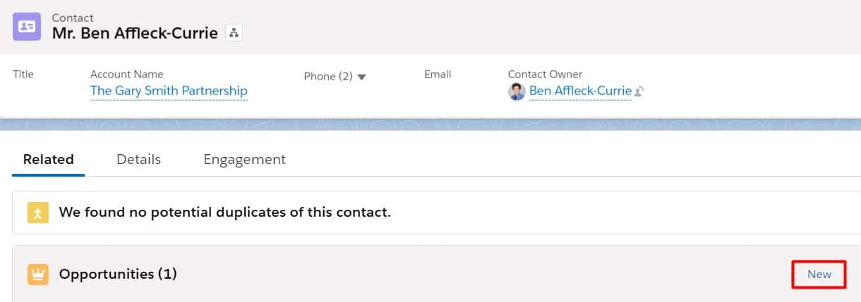 Create an opportunity directly from the Contact in Salesforce