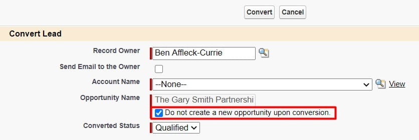 Bypass Opportunity creation by clicking the 'Do not create a new opportunity upon conversion' checkbox