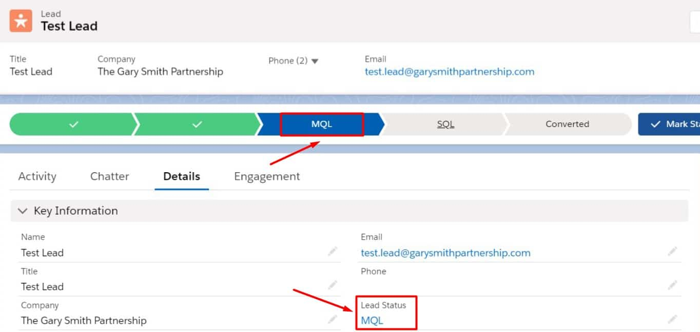 Lead status updates to MQL.