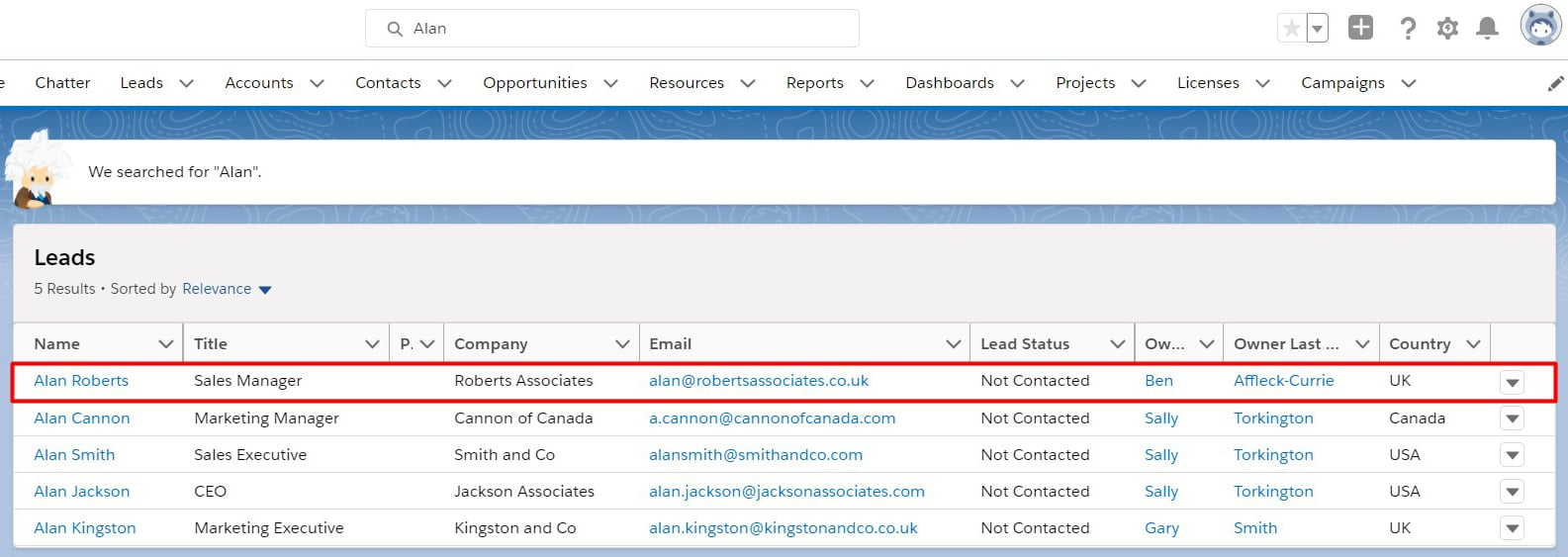 Salesforce Einstein Search showing a personalized lead search result