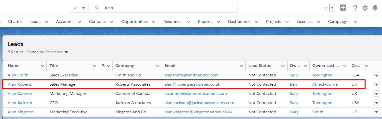 Standard Salesforce Search showing a normal lead search result