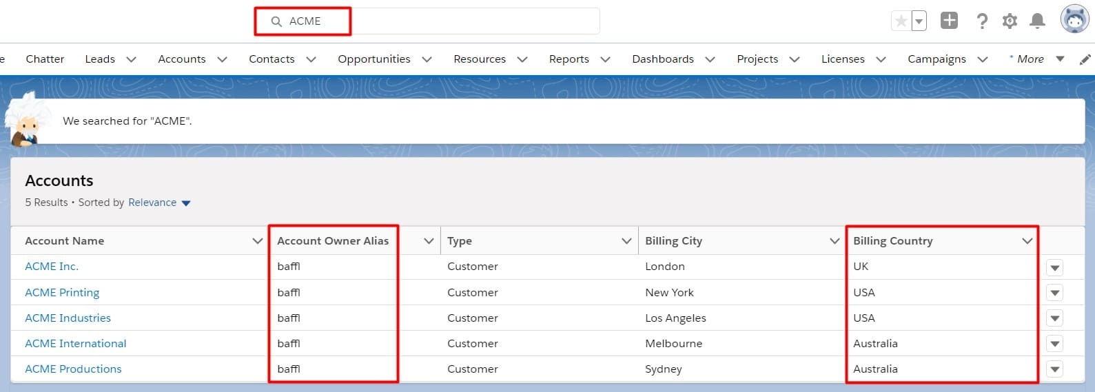 Salesforce Einstein Search showing a personalized account search result
