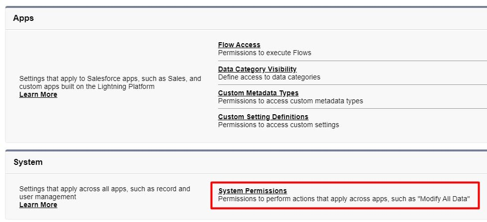 Navigate to System Permissions within Einstein Search permission set