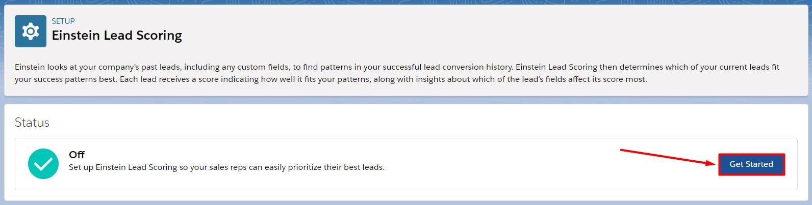 Click Get Started to begin using Einstein Lead Scoring