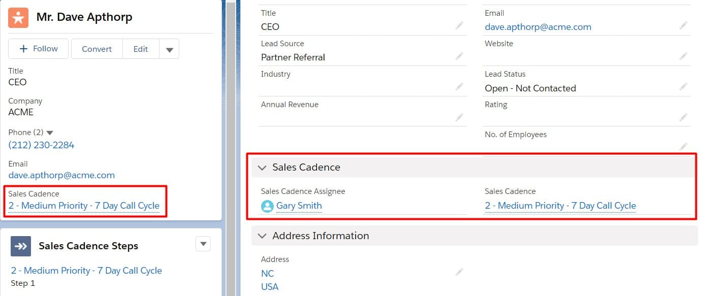 Sales Cadence field information being stored directly on a Lead Record