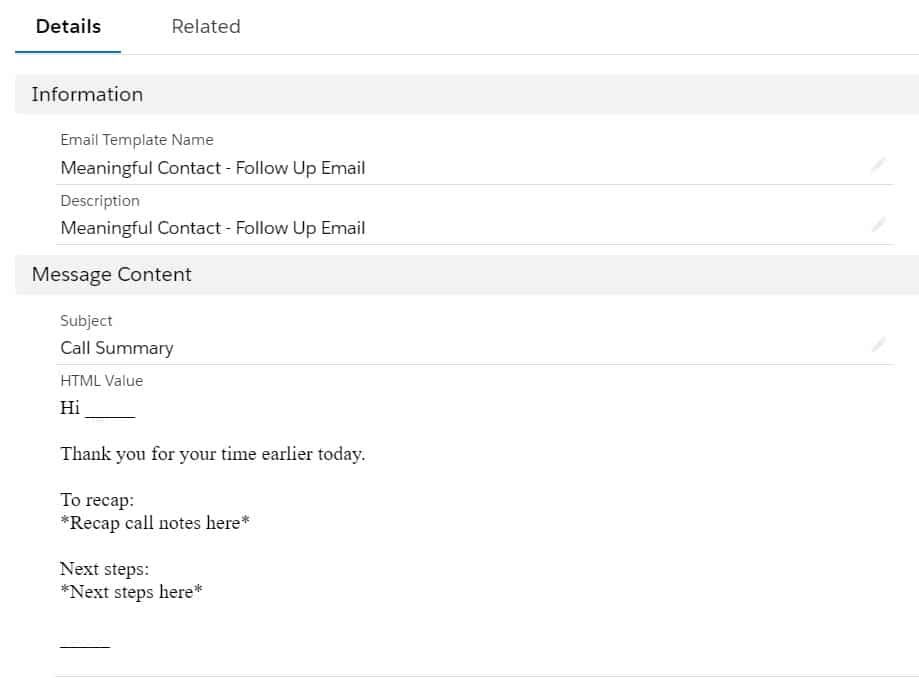 Example Email Template for use within a Sales Cadence