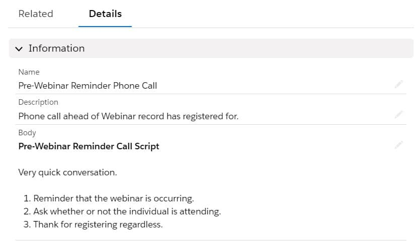 An example Call Script for use within a Sales Cadence