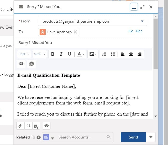 Automatically pull the relevant Email Template into the email when clicking the Email Button in the High Velocity Sales Work Queue