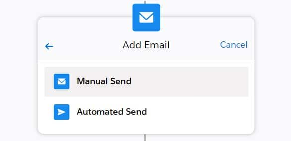The difference between manual and automatic Sales Cadence Email Actions