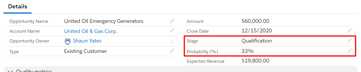 Adjust the Opportunity Probability directly on the Opportunity