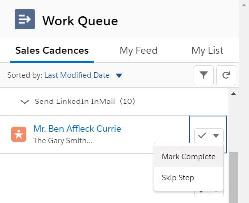 Marking a Custom Step Action as complete within the High Velocity Sales Work Queue