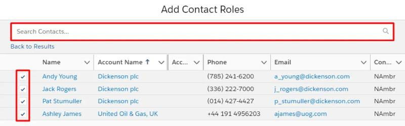 Add Contacts to the Contact Roles using the Search Bar and Checkboxes