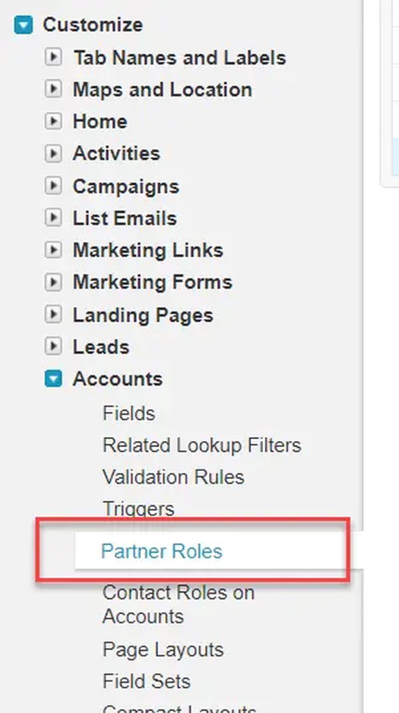 Modify the Partner Roles in Salesforce Classic