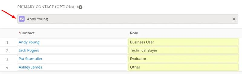 Add a Primary Contact to the Contact Roles