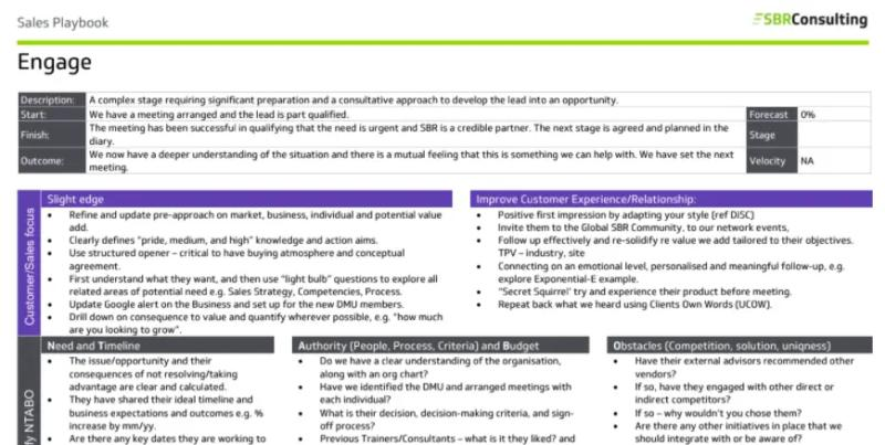 An example page taken from a Sales Playbook