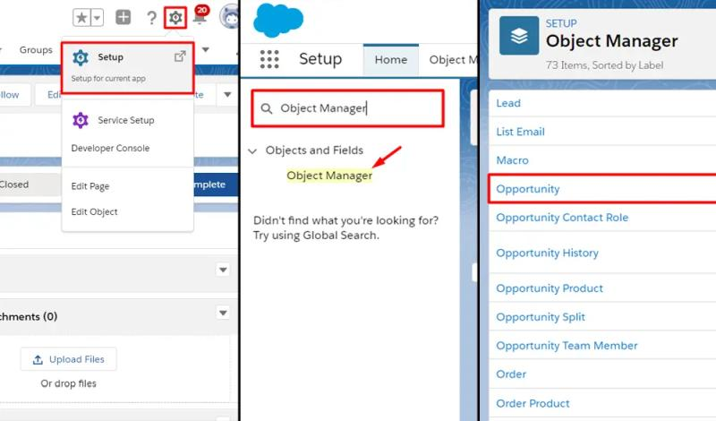 Access the Opportunity object through Setup, Object Manager, Opportunity