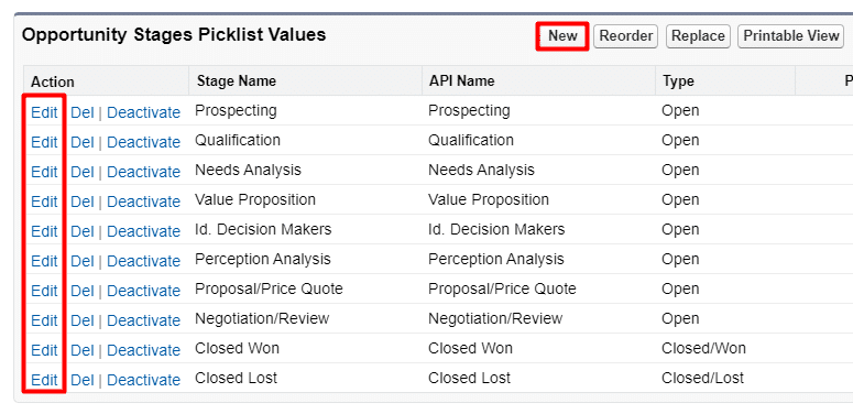 Add or edit Stage picklist values by clicking New or Edit