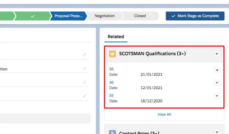 SCOTSMAN Qualifications stored within a related list directly on an Opportunity