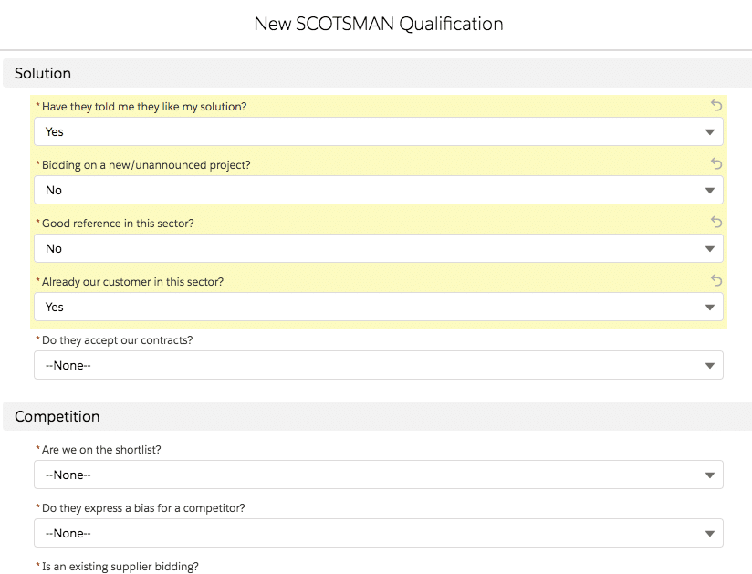 The fields within a new custom SCOTSMAN Qualification record in Salesforce