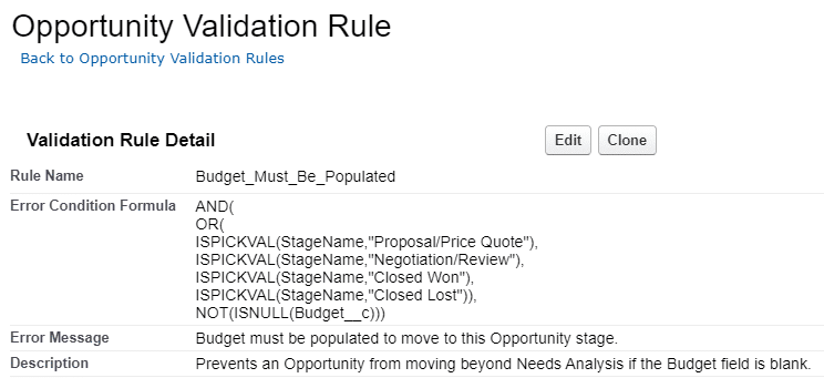 An example of a validation rule to prevent stage movement when fields are missing a value