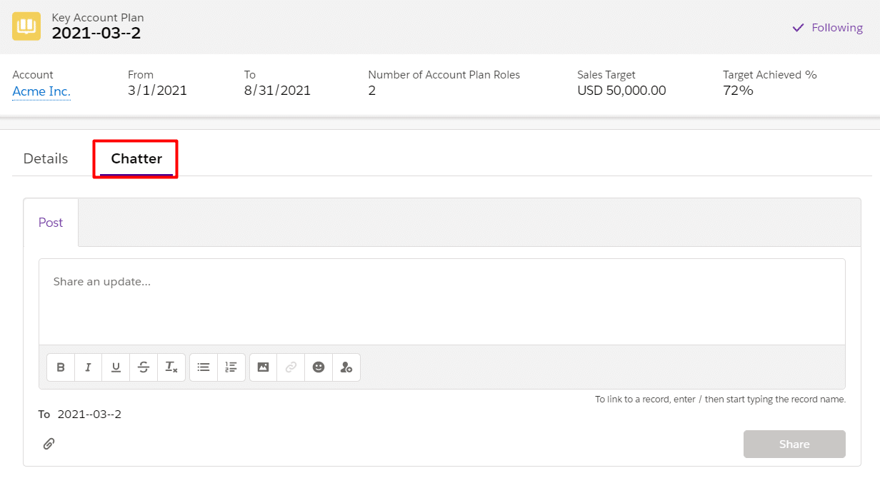 The chatter tab appearing on a Key Account Plan record