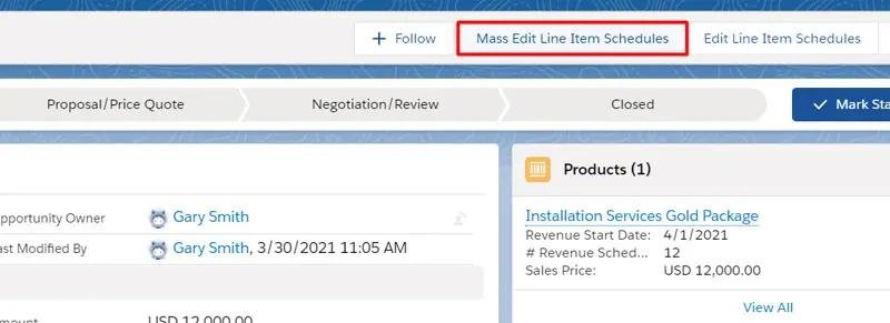 Mass Edit Line Item Schedules button included in the Revenue Schedules by GSP app