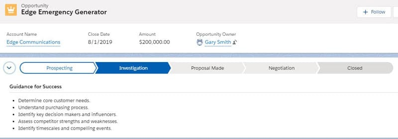 In Lightning, the Opportunity page layout displays the stages in the Sales Path.