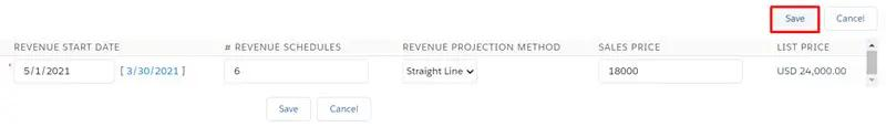 Edit Line Item Schedules visualforce page included in the Revenue Schedule by GSP app
