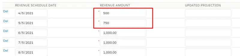 Make adjustments to the Revenue Amount per Revenue Schedule