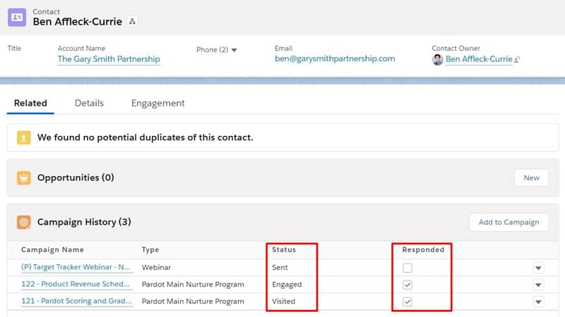 View different Salesforce campaign statuses and responses on the Contact
