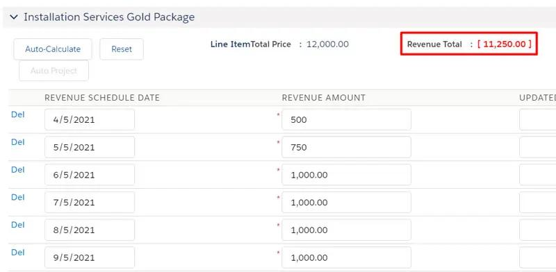 After adjusting the Revenue Amount, the new Revenue Total is displayed