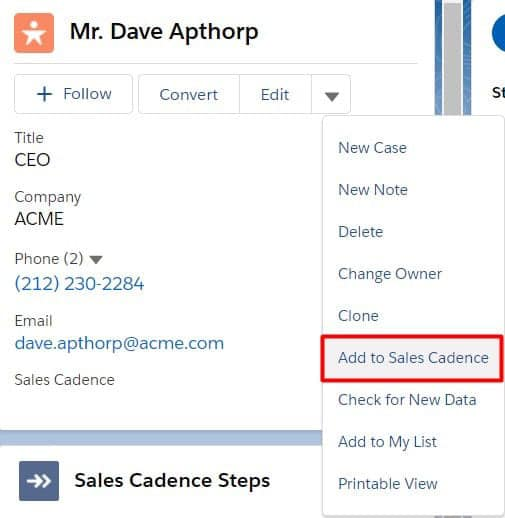Add records to Sales Cadences via the dropdown on the highlights panel