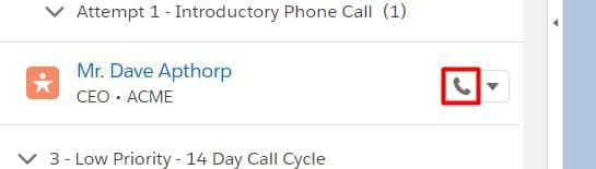 Click the Call button to automatically dial the record using Lightning Dialer