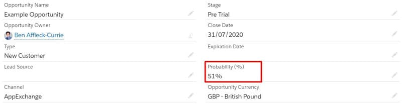 Opportunity probability over 50% on the Opportunity