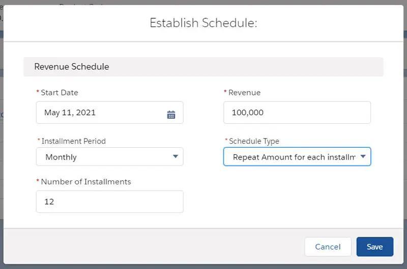 The establish schedule button parameters once the establish schedule button has been clicked